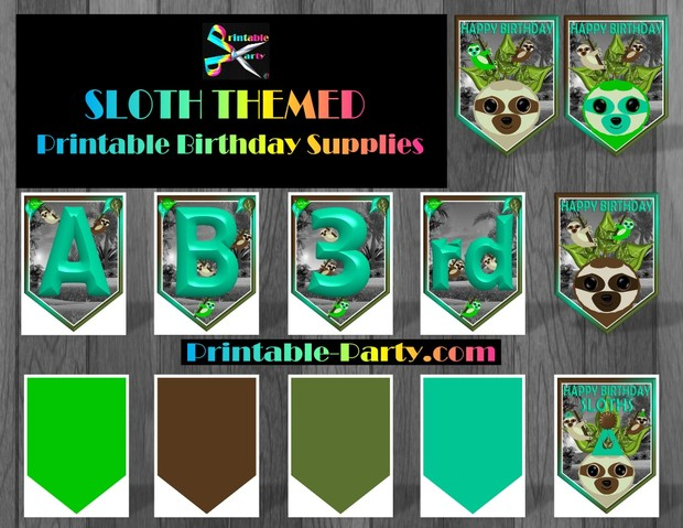 Sloth Theme Printable Party Supplies and Decorations