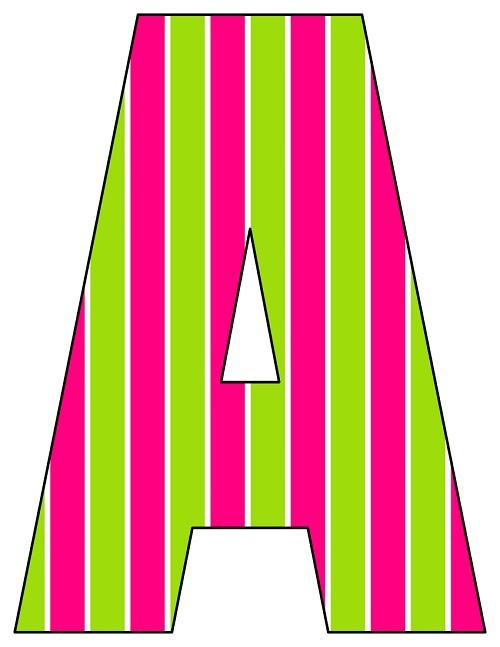 8X10.5  Inch Green Pink Vertical Stripe Printable Letters A-Z, 0-9