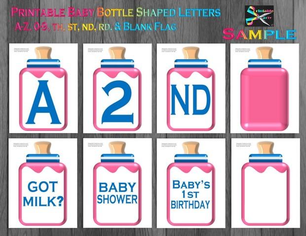 LARGE-NAVY-DARK-BLUE-BABY-BOTTLE-BANNER-LETTERS