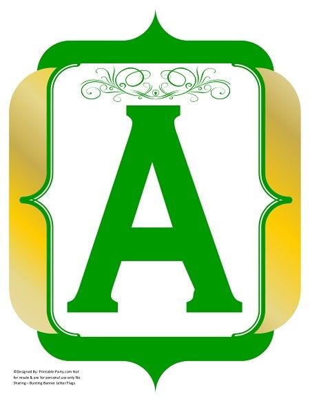 fancy-green-gold-printable-banners-letters-numbers