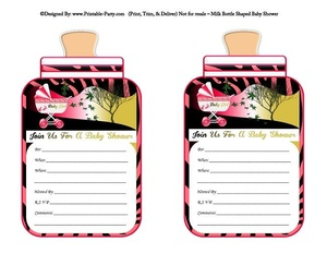 printable-hot-pink-zebra-carriage-stroller-girl-baby-bottle-shaped-baby-shower-invitations