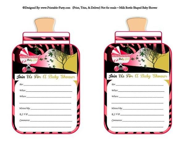 printable-hot-pink-zebra-carriage-stroller-girl-baby-bottle-shaped-baby-shower-invitations