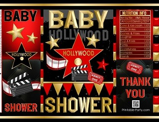 Printable Potato Chip Bags Baby Shower Favors Hollywood Red Carpet
