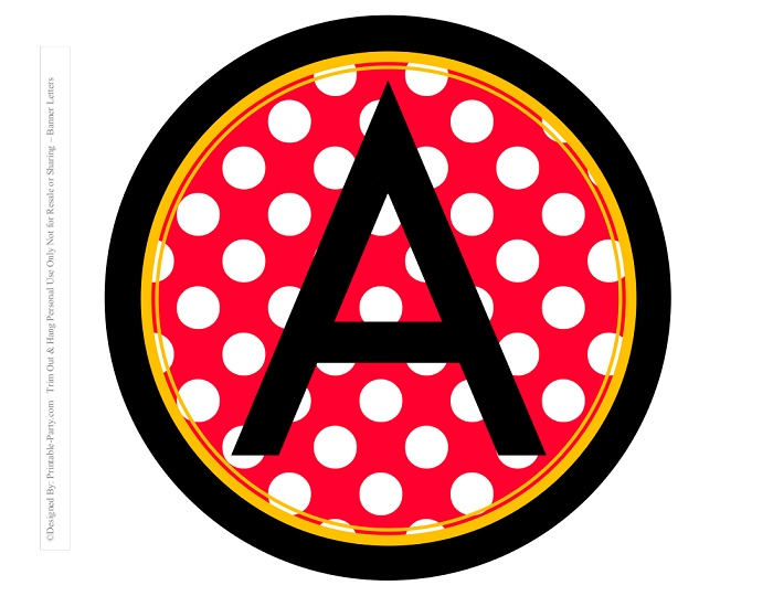 image about Making a Printable Banner titled 8-INCH-BLACK-YELLOW-Crimson-DOTS-CIRCLE-PRINTABLE-BANNER-LETTERS-A-Z-0-9