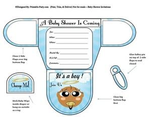 Angel Chocolate Boy Diaper Baby Shower Invites