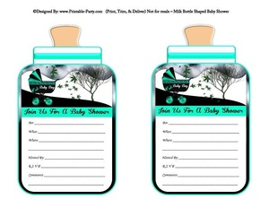 printable-aqua-black-carriage-stroller-boys-baby-bottle-shaped-baby-shower-invitations