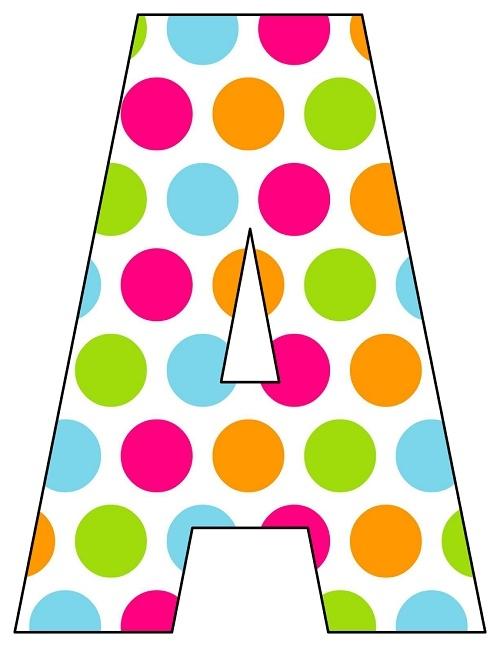 8X10.5 Inch Rainbow Big Polka Dot Printable Letters A - Printable ...