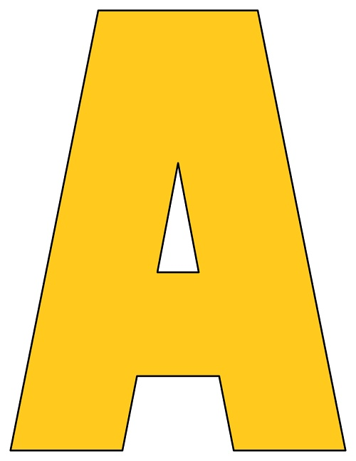 graphic relating to Printable Letters called 8X10.5 Inch Golden Yellow Printable Letters A-Z, 0-9
