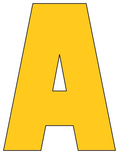 8x10 5 inch golden yellow printable letters a