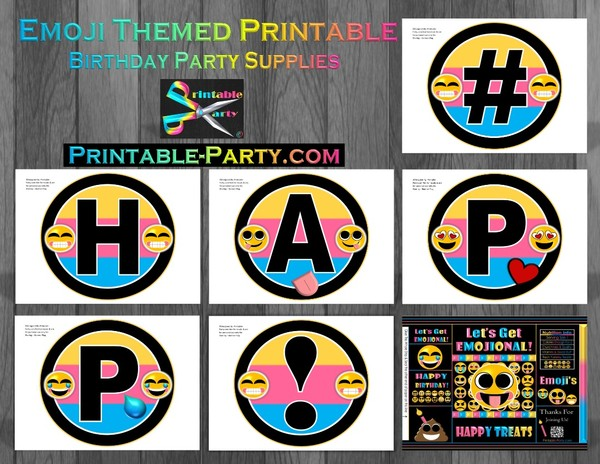 Emoji Birthday Party Supplies Printables
