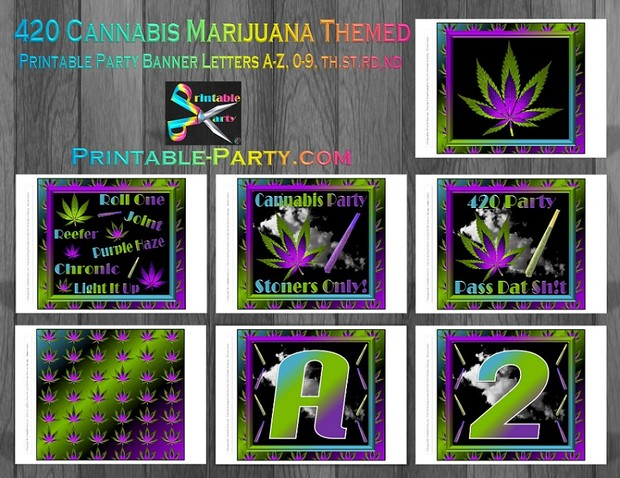Printable 420 Marijuana Party Supplies Pack