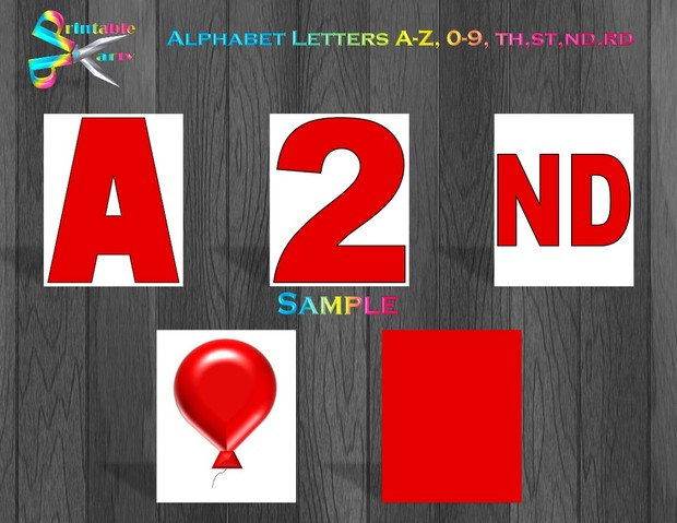 8X10.5  Inch Dark Red Printable Letters A-Z, 0-9
