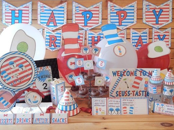 Seuss Inspired Printable Birthday Supply Pack.