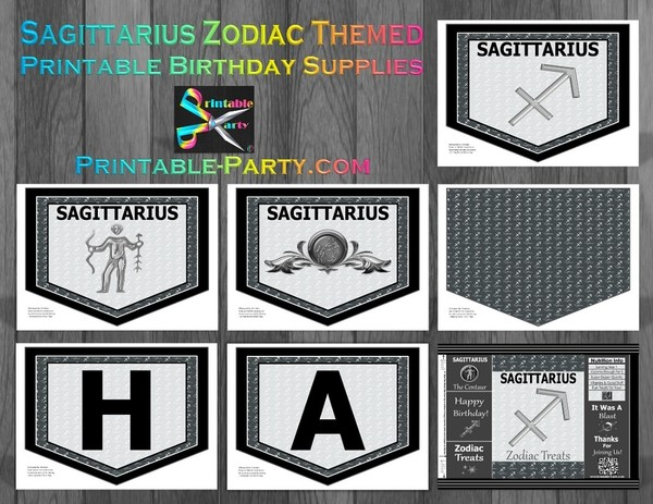 Sagittarius Zodiac Theme Printable Birthday Decorations Grey Black