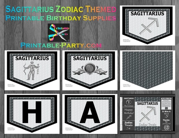 Sagittarius Zodiac Theme Printable Birthday Decorations Grey Black
