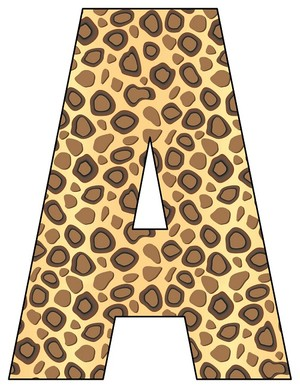 8X10.5  Inch Cheetah Printable Letters A-Z, 0-9