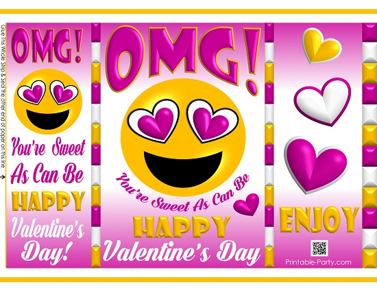 graphic regarding Happy Valentines Day Printable named printable-potato-chip-baggage-pleased-valentines-working day-reward-emoji-4