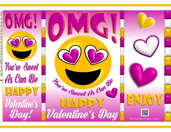 graphic regarding Happy Valentines Day Printable named printable-potato-chip-baggage-pleased-valentines-working day-reward-emoji-4