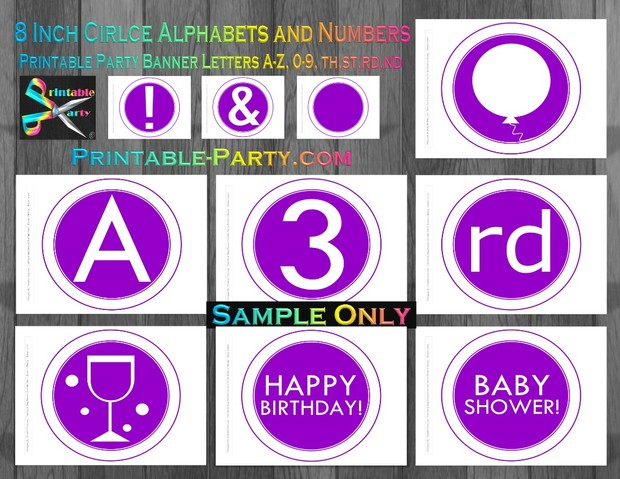 8-INCH-WHITE-DARK-AQUA-CIRCLE-PRINTABLE-BANNER-LETTERS-A-Z-0-9