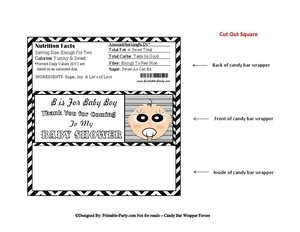 Black Chevron Boy Baby Shower Candy Bar Wrapper Favor