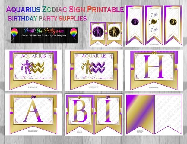 Aquarius Zodiac Themed Printable Party Supply Pack