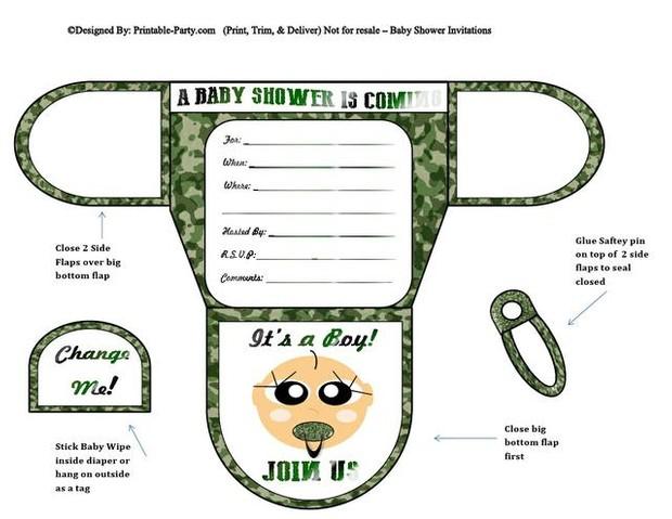 Army vanilla boy diaper baby shower invites filmwisefo