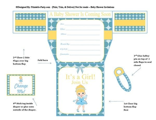 Blue Polka Dots Cinderella Diaper Girl Printable Baby