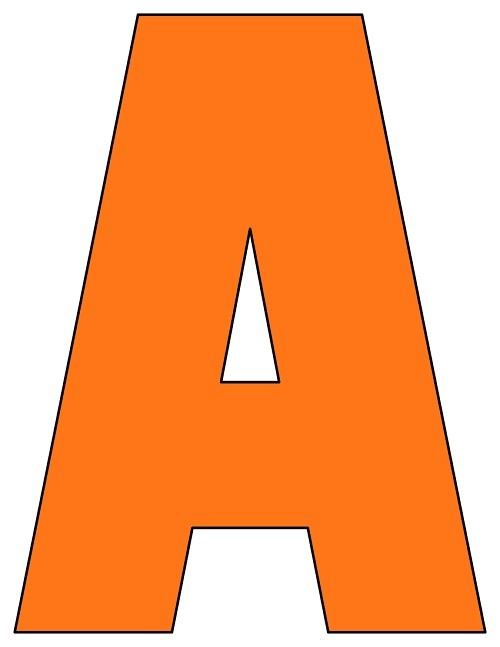 8X10.5  Inch Orange Printable Letters A-Z, 0-9