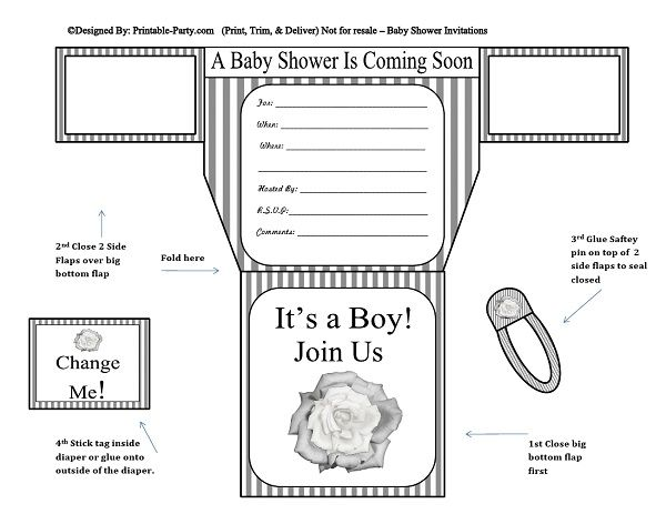 picture relating to Printable Baby Shower Invitations Boy named gray-white-stripes-flower-diaper-boy-printable-kid-shower-invitation