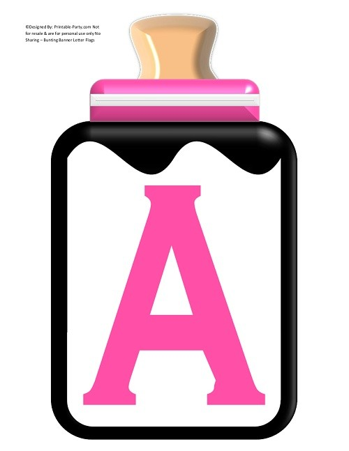 LARGE-BLACK-PINK-BABY-BOTTLE-BANNER-LETTERS