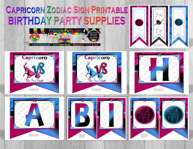 Capricorn Zodiac Themed Printable Party Supply Pack