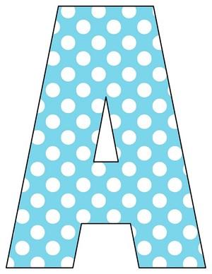 8X10.5  Inch Aqua light Blue Printable Letters A-Z, 0-9