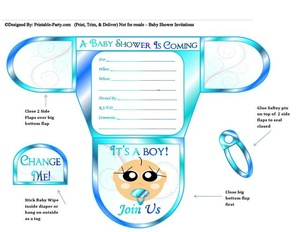 Ocean Blue Vanilla Boy Diaper Baby Shower Invites