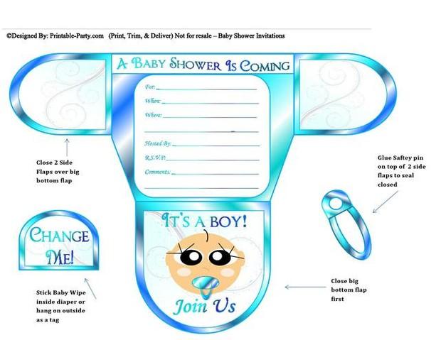 Ocean Blue Vanilla Boy Diaper Baby Shower Invites