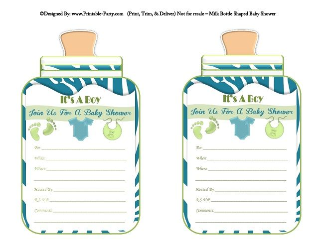 photo regarding Baby Shower Printable Invitations named printable-blue-environmentally friendly-zebra-toes-boy-youngster-bottle-formed-boy or girl-shower-invites