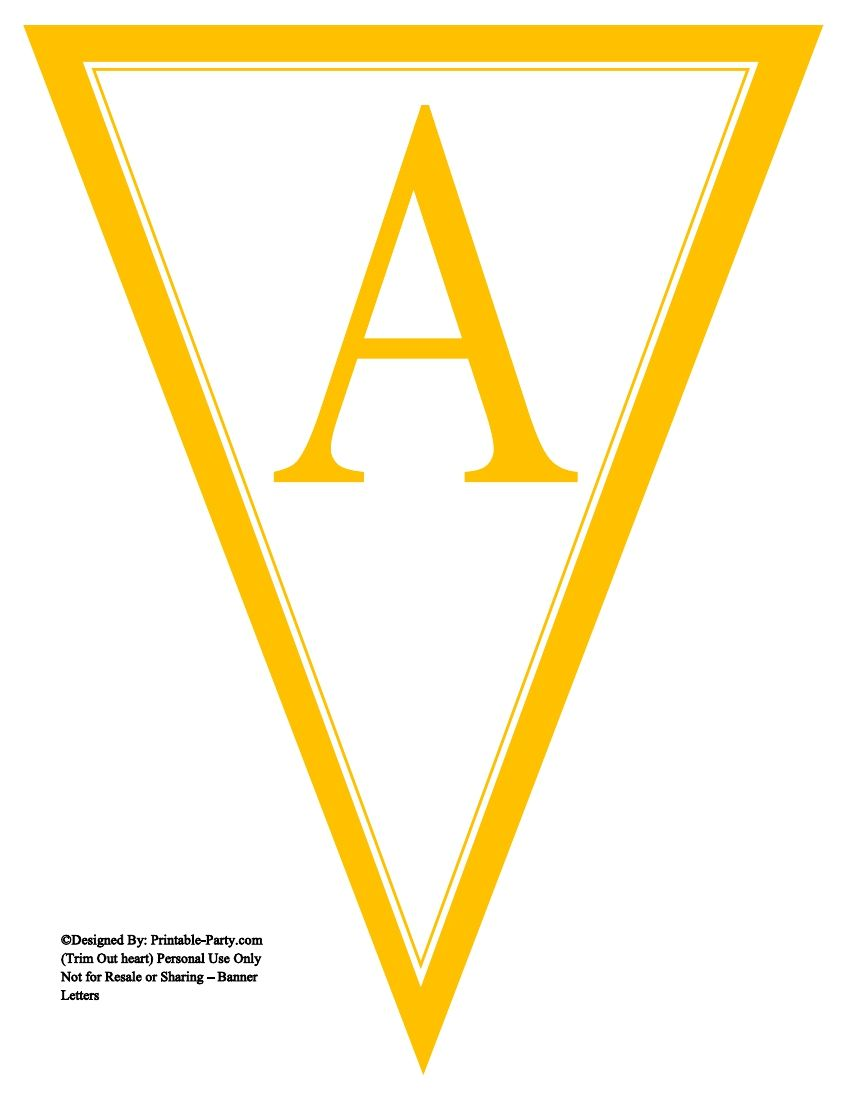 image relating to Printable Pennant Banner identify yellow-triangle-pennant-banner-printable-alphabet-letters-a-z