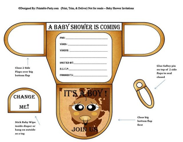Map Chocolate Boy Baby Shower Invitations