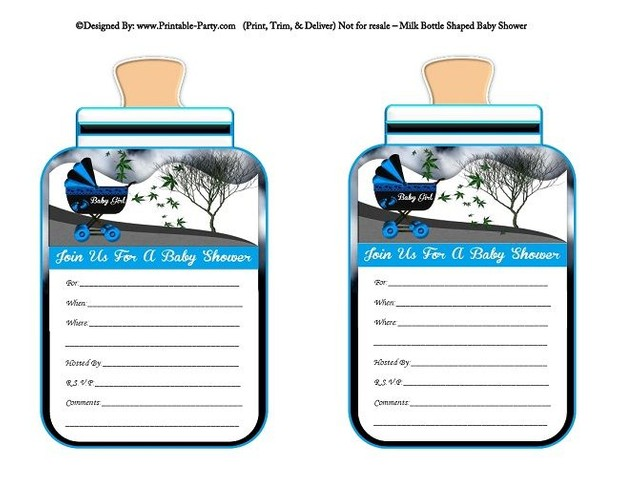 printable-blue-black-carriage-stroller-baby-girl-babies-bottle-shaped-baby-shower-invitations