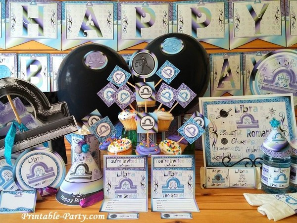 Libra Printable Zodiac Party Supplies Pack