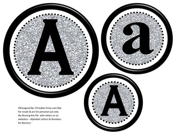 graphic relating to Printable Letter Banners named 6-inch-black-silver-glitter-circle-printable-banner-letters-quantities-a-z-0-9