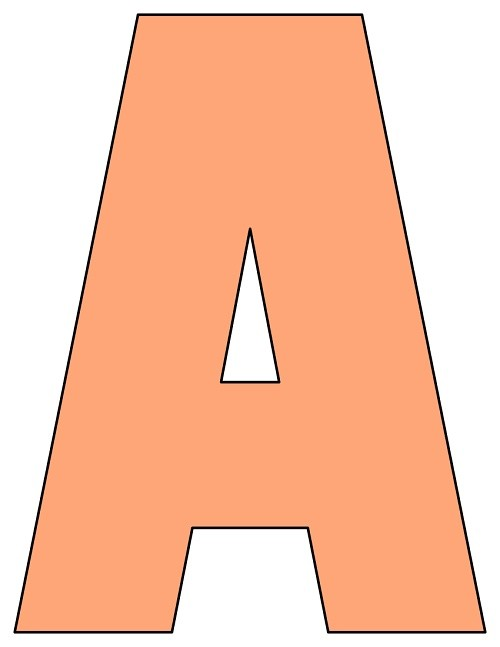 8X10.5  Inch Peach Printable Letters A-Z, 0-9