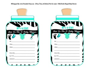 printable-black-aqua-zebra-feet-girl-baby-bottle-shaped-baby-shower-invitations