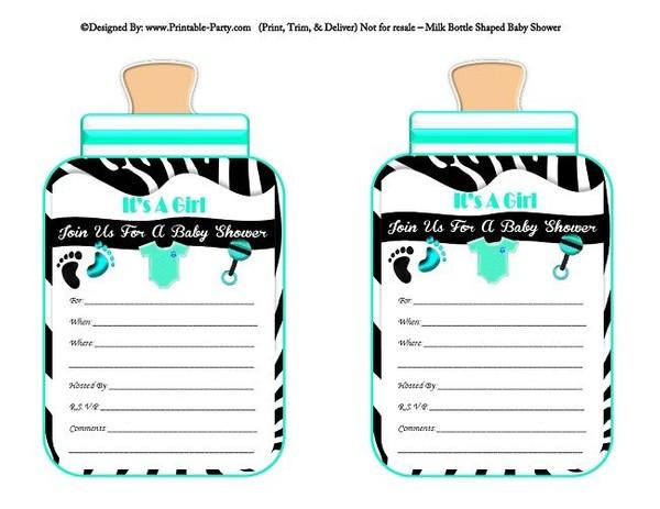 printable-black-aqua-zebra-feet-girl-baby-bottle-shaped-baby-shower-invitations