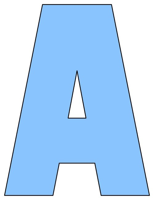 8X10.5  Inch Light Blue Printable Letters A-Z, 0-9