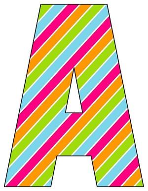 8X10.5  Inch Rainbow Slant Stipe Printable Letters A-Z, 0-9