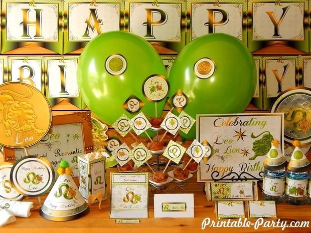 Leo Zodiac Sign Printable Birthday Decorations