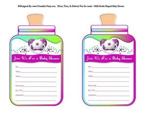 printable-purple-green-blue-babies-bottle-shaped-baby-shower-invitations