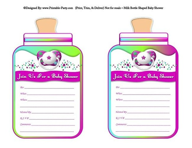 printable-purple-green-blue-babies-bottle-shaped-baby-shower-invitations