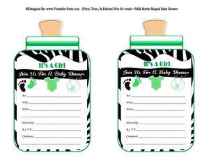 printable-black-green-zebra-feet-girl-baby-bottle-shaped-baby-shower-invitations