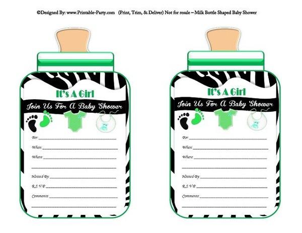 printable-black-green-zebra-feet-girl-baby-bottle-shaped-baby-shower-invitations